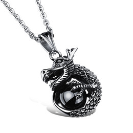 Wholesale Titanium Dragon Pendant - New Dragon and Gems Pendant Popular Titanium Steel Women Men Necklace Jewelry Classical Design Birthday Present