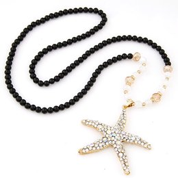 Wholesale Silver Beads For Clothes - 2015 Fashion Black Beads Chain Sea Star Pendant Necklace Long Woace Long Women Clothes Neckmen Clothes Necklace Jewelry For Women