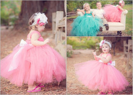 Wholesale Cheap Baby Girls Pageant Dresses - 2016 Spring Flower Girls Dresses Spaghetti Ball Gown Pageant Girl Party Dress Cheap Long Baby Little Girls Kids Formal Tulle Bow Ball Gowns