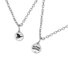 Wholesale Antique Skis - 100pcs lot zinc alloy antique silver plated alpine skiing disc fashion necklaces