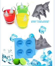 Wholesale Ce Cream Maker - Novelty fun Shark fin shape Cocktails Silicone Mold Ice Cube Tray Chocolate Fondant Mould diy Bar Party Drink LY