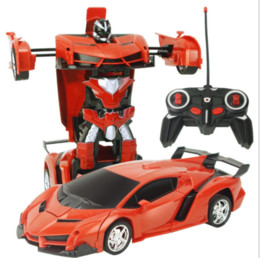 Wholesale One Year Boy - 50pcs--Rechargeable deformable remote-control vehicle one-click transformation robot 1:18 boy racing puzzle children electric toy
