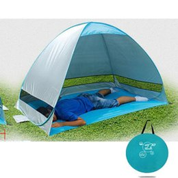 Wholesale Blue Awning - Wholesale-Outdoor camping hiking beach summer tent UV protection fully automatic sun shade quick open pop up beach awning fishing tent