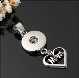 Wholesale personalized jewelry wholesale - new heart shape mom 18mm noosa pendant DIY Noosa snap Button Pendant snap button noosa pendant Personalized fashion jewelry accessories