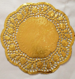 "Wholesale Lace Invitations - 100 Pcs 12""=30cm Gold Round Lace Paper Doilies   Doyleys,Vintage Coasters   Placemat Craft Wedding invitations Table Decoration"