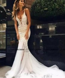 Wholesale Sweetheart Long Train Wedding Gowns - 2018 Pallas Couture Mermaid Beach Wedding Dresses Lace Floral Long Train Custom Make V-neck Full length Fishtail Bridal Gowns Custom Made