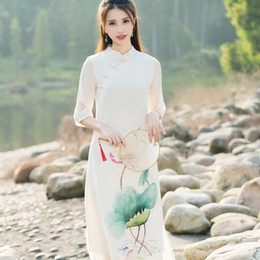Wholesale Traditional White Costume - Chinese traditional dress 2016 women spring autumn bohemian ethnic lotus pattern dress cosplay costumes mandarin gown vestidos