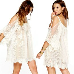 Wholesale Vintage Crochet Dresses For Women - Best-seller 2015 Summer Women dress Vintage Hippie Boho People Embroidered Floral Lace Crochet Mini Dress for ladeis girls jul08