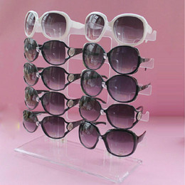 Wholesale Display Rows - Transparent Detachable Sunglasses Glasses Rack Holder Display Stand 2 Row 10 Pairs