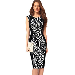 Wholesale Plus Size Stretch Pencil Dress - Wholesale-2015 Ladies Sexy Sleeveless Leopard formal office dresses for women Bodycon Stretch Knee Work Wear Pencil Dress Plus Size LYP