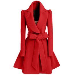 Wholesale Bow Wool Coat - Elegant Women's Woolen Outwear Overcoat Fashion Long Slim Thick Blends Trendy Winter Warm Coat Free Shipping