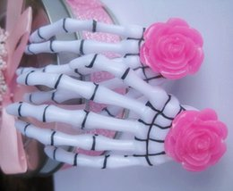Wholesale Hair Flowers Clips For Girls - Fashion Resin Rose Flower Skeleton Claw for Girls Punk Harajuku Hair Accessories Ideal Gifts for Best Friends HJ111