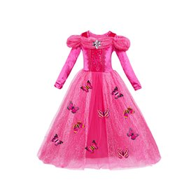 Wholesale Yellow Princess Costume - Cosplay Christmas Girls dress Costumes princess dresses Long sleeve Butterfly Party birthday gifts Puff sleeve blue