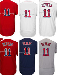 Wholesale Mens Cheap Shorts - Fashion Mens Boston 11 Rafael Devers Baseball Jerseys Cheap White Red Gray Navy Blue Flex Cool Base Stitched Shirts Mix Order