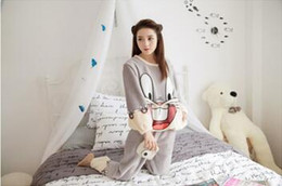Wholesale Animal Pajamas Bunny - Flannel pajamas girls Cute Bugs Bunny cartoon coral velvet pajamas women winter Cotton thick Homewear suits