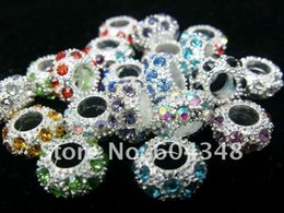 Wholesale Mixed Rhinestone Spacers - 11MM Mixed Rhinestone Crystal Beads, Rondelle Spacers, Metal Silver Plated Crystal Big Hole European Bead Fit Bracelets-100PCS