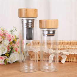Wholesale Country Bags - Tea Filter Cups Double Layer Glass Cup Heat Resisting Bamboo Cover Water Bottle Portable Drinking Tumblers 350ml 450ml 20 5bd C RZ