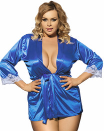 Wholesale Blue Sexy Night Gowns - Plus Size Sexy Kimono Women Lingerie Large Size Slik Solid Robe Lady Satin Night Gown Pajamas Sleepwear Free Shipping