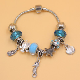 seahorse charm bracelet Promo Codes - New Arrival Jewelry Wholesale DIY Ocean Beach Style Starfish conch Seashell Seahorse Charm Bracelet for Christmas Gift Jewelry