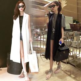 Wholesale Korean Dress Fashion Black Color - Wholesale-2015 korean fashion solid color black white loose palazzo maxi long blazer suit collar trench vest coat sleeveless dress casacos