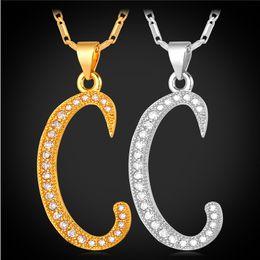 Wholesale Initial Letter Necklaces - U7 C Pendant Alphabet Necklace Luxury Cubic Zirconia Pltinum 18K Real Gold Plated Fashion Women Men Jewelry Party Gift
