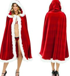Wholesale Sexy Santa Claus Clothes - Christmas Cape for Women Christmas Clothing Adult Sexy Long Christmas Costume Santa Claus Hooded Cloak Costume Free Shipping