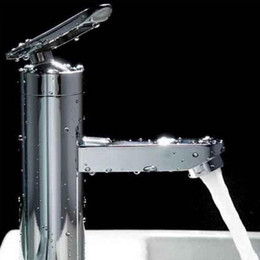 Wholesale Square Sinks - Bathroom Shower Sets 1pcs Bathroom Basin Faucet Single Handle Brushed Chrome Waterfall Sink Mixer Tap New