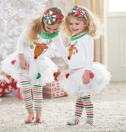 Wholesale Girls Leggings Blouse - Baby Girl Christmas set White Reindeer Sweater Blouses & Rainbow Striped leggings Pants 2 PCS Set Xmas Outfit 10pc=5set
