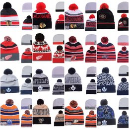 Wholesale Beanie Hats Man - Winter Beanie Hats Men women Penguins Blackhawks Maple Leafs Oilers Capitals Red Wings Cap Knitted Wool Hat Gorro Bonnet with Hockey Caps