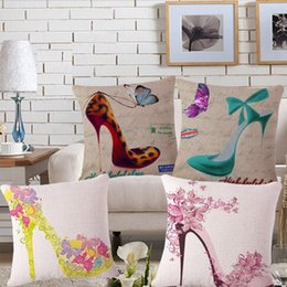 Wholesale Light Purple High Heel Shoes - 4 styles Summer High-heeled shoes Custom Cushion Covers Retro Butterfly Decorative Pillows Covers Throw Pillows Cases Bedroon Decor
