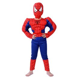 Wholesale Masquerade Party Kids Costumes - Muscle spiderman costume children kid boy girl halloween Suit Clothes the spider man mask ball Masquerade mascot party clothing