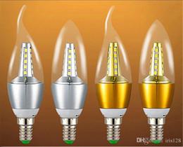 Wholesale E14 Led Candle Lamp 7w - 7W AC110V 220V 2835smd Led Candle Bulb E12 E14 E27 Base Led Light LED Lamps Lighting Chandelier Bulbs Light Bullet Bent Tip Available
