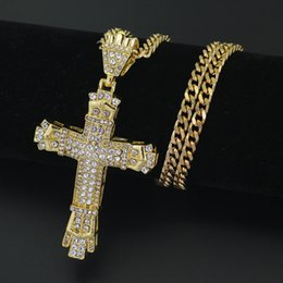 Wholesale rhinestone 5mm - 2 Colors 5mm 30inch Stainless Steel Cuban Chain Hip Hop Rhinestone Cross Bling Iced Out Jewelry Pendant Necklace N609