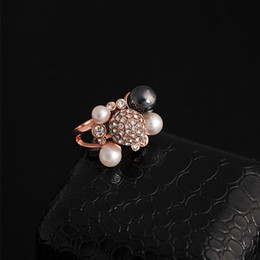 Wholesale Pearl Cluster Ball - Wholesale-Bijouterie Designer 4pcs Pearls Cluster with Rhinestone Pave Big disco Ball Cocktail Rings for Women-R020