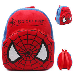 Wholesale Spiderman Bags Wholesale - 2015 red spiderman Girls Boys loved mini soft plush Backpacks for 1-2T bag put the cady doll spiderman backpack birthday gift
