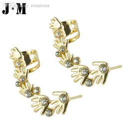 Wholesale Small Earrings For Cartilage - Wholesale-One Pcs for sale 2015 Designer Small Finger cartilage piercing earrings,silver gold clips for the ears,crystal ear cuff earrings