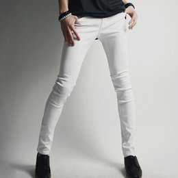 Wholesale Skinny Jeans Korean Style - Wholesale-New Korean Style Men's Sexy Super Skinny White Jeans High Quality Brand Fashion Casual Stretch Denim Pencil Trousers for Men
