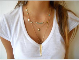 Wholesale Ladies Simple Necklace - new fashion simple multi-layer necklace feather pendant sequins tassel necklace metal ladies accessories TO261