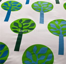 """Wholesale Striped Full Flat Sheet - Wholesale-Green Tree Pattern Bedding Set with 3 pieces 128*68 Twill Cotton Duvet Cover 59""""*82"""" Striped Flat Bed Sheet"""