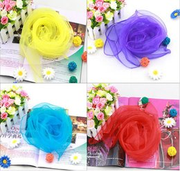 Wholesale Pure Silk Chiffon - High Quality Small Square Scarves Pure Silk Chiffon Solid Color Dance Show New Candy-colored Windproof Women Scarves 60*60cm