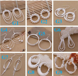 Wholesale Mixed Earings - mixed 925 Sterling Silver Jewelry drop Earings 2014 Brand New free shipping Beautif Earrings Dangle Earrings Mix Order 1762