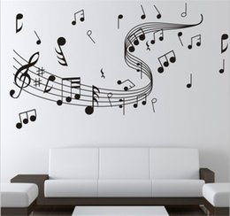 Wholesale Wall Decal Stickers Music - Brand New 1pcs Diy Wallpaper Music Note Wall Stickers for Creative Wall Art Decoration Music Wall Decals Home Bedroom Decor