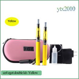 Wholesale Ego Ce4 Kit Case Double - CE4 Double kit Ego t Electronic Cigarettes Starter Kit Ce4 Vape Pen 1.6ml Ego Battery 650mah 900mah 1100mah Single Zipper Case kit
