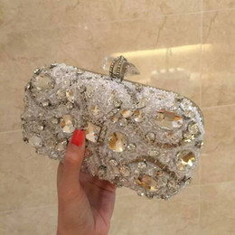 Wholesale Clear Crystal Evening Bag - Elegant White Evening Bags Clutches Clear Beads Handbag Party Bridal Handbags Hand Bags For Women Fashion Crystal Hand Bags 2015 NO PS