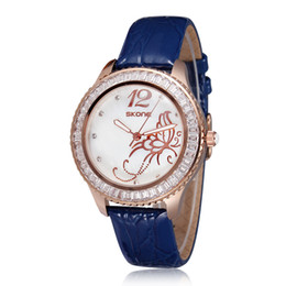 Wholesale Watch Import Japan - New Arrival Fashion Leather Rhinestone Watches Imported Japan Quartz Watches Shell Dial For Women