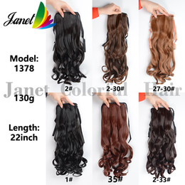 Wholesale Long Wavy Clip Extensions - 22inch(55cm) New Synthetic Long Lady Wowen Curly Wavy Clip Ponytail Pony Tail Hair Extension hairpiece Ribbon 6 colors 130g Free shipping
