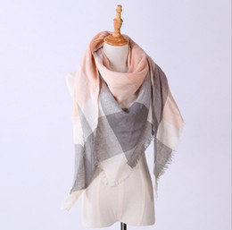 Wholesale Triangle Cashmere Scarves - New Fashion Winter Scarf For Women Warm Brand Scarf Luxury Plaid Cashmere Scarves Women Triangle Bandage Bufanda 24 color G1193