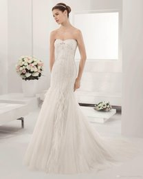 Wholesale Most Beautiful Wedding Dress Mermaid - 2017 Most Beautiful Bridal Wedding Dresses Sweetheart Sleeveless Crystal Beading Beads And Feather Court Train Zipper Tulle Mermaid Gown