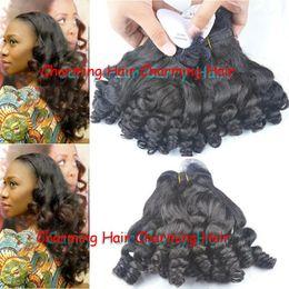Wholesale Nigerian Hair - 8a double drawn virgin human hair weaves bouncy wave nigerian aunty funmi hair extensions for short hair 3pcs lot DHL free shipping