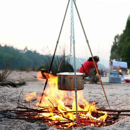 Novos aparelhos ao ar livre 3 seções de acampamento ao ar livre tripé portátil pendurado pote titular fogueira tripé de liga de alumínio suporte para venda cheap aluminum camping pots de Fornecedores de potes de campismo de alumínio